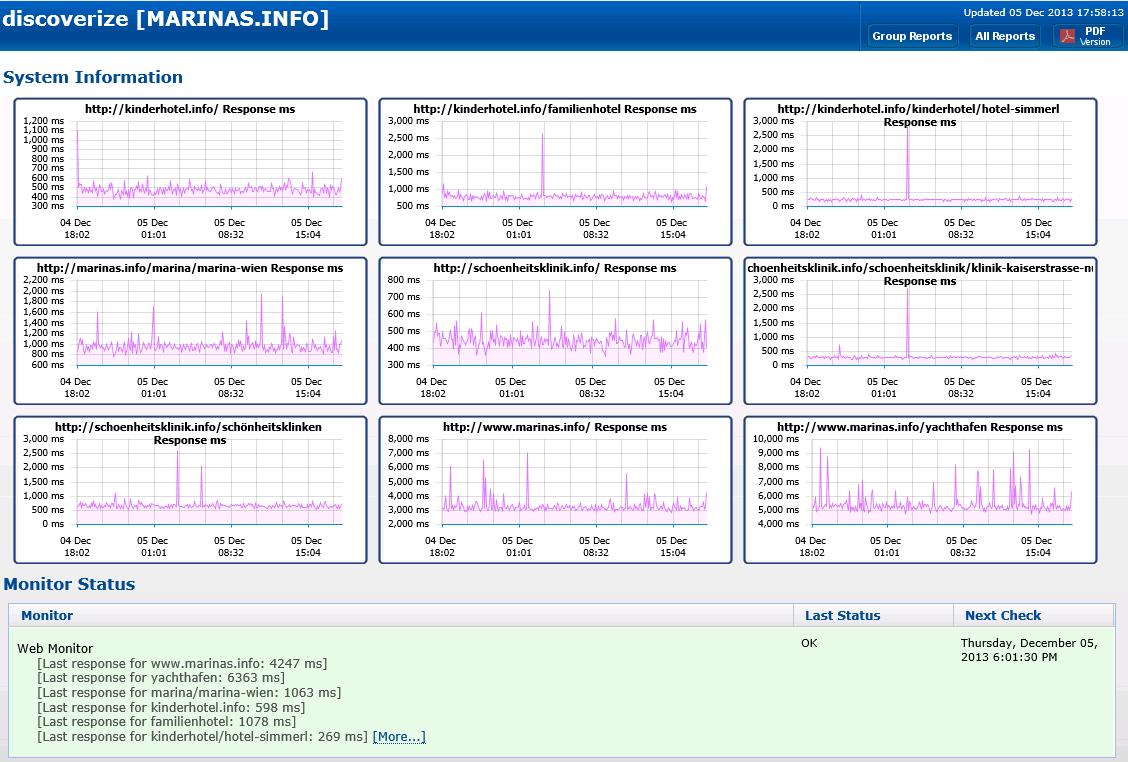 Monitoring der Live-Portale | discoverize - die individuelle Web Portal Software für branchen-spezifische Web Portale