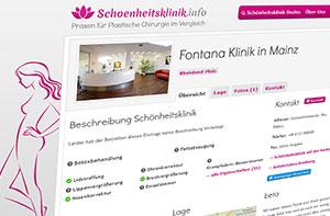 discoverize web portal software beispiel: schoenheitsklinik.info