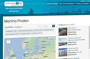 discoverize web portal software beispiel: marinas.info